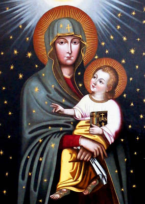 Holly Mother Painting - Our Lady Of Fatima Holy Mother With Child by Magdalena Walulik