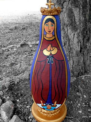 Polymer Clay Painting - Our Lady Of Guadalupe Sculpture by Jan Oliver-Schultz