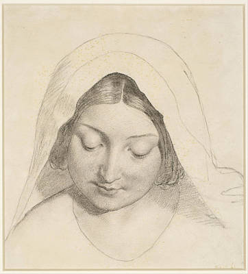 Ford Madox Brown Drawing - Oure Ladye Of Saturday Night. Study For Head Of The Madonna by Ford Madox Brown