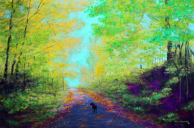 Rain Painting - Out For A Walk Color Pop by Ken Figurski
