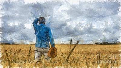 Rural Art Drawing - Out In The Fields by Edward Fielding