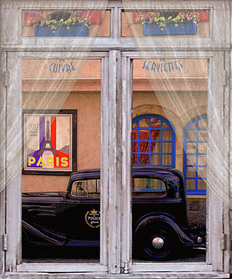 Police Cars Digital Art - Out My Window - Paris by Jeff Burgess