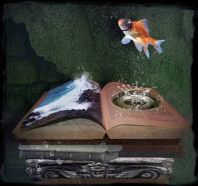 Goldfish Digital Art - Out Of The Pond by Mary Hood