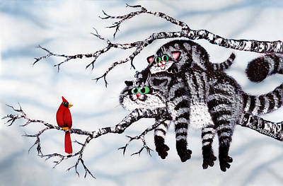 Humorous Cat Painting - Out On A Limb by Baron Dixon