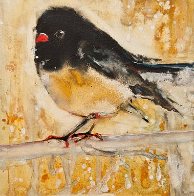 Birds Painting - Out On A Limb With Orange Feet by Jani Freimann