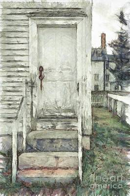 Out The Back Door Pencil Print by Edward Fielding
