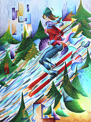 Skiing Action Painting - Outdoor Adventure-skiing by Jessica Lynn Meath