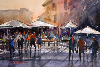 Umbrella Painting - Outdoor Market - Rome by Ryan Radke