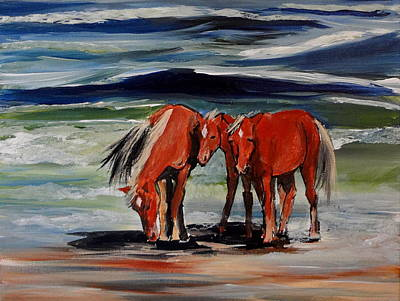 Horse Painting - Outer Banks Wild Horses by Katy Hawk