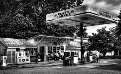 Possum Photograph - Outside At Clays Corner In Black And White by Greg Mimbs