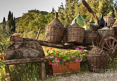 Wine Cart Photograph - Outside Botege Del Trenta Restaurant In Villa A Sesta by Jon Cretarolo