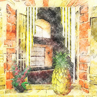 Pineapple Drawing - Outside Looking In by L Wright