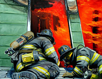 Firefighter Painting - Outside Roof by Paul Walsh