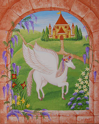Pegasus Drawing - Outside The Window by Valerie Carpenter