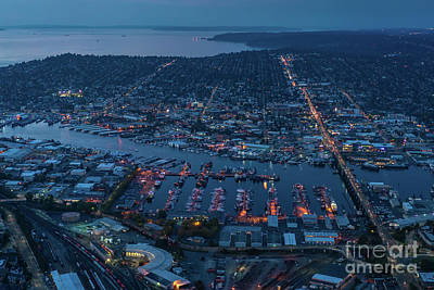 The Link Photograph - Over Seattle Ballard And Interbay Dusk by Mike Reid