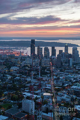 The Link Photograph - Over Seattle  The View Up Madison Street At Sunset by Mike Reid