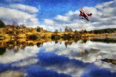 Bi Plane Digital Art - Over The Lake by Ian Mitchell