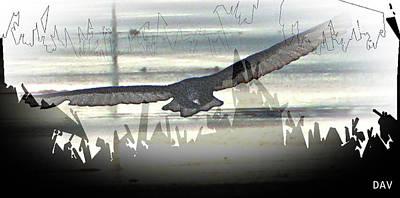 Nature An Bird Mixed Media - Over The Water by Debra     Vatalaro