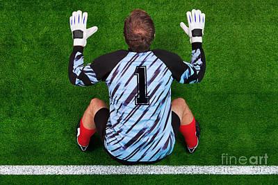 Birdseye Photograph - Overhead Shot Of A Goalkeeper On The Goal Line by Richard Thomas