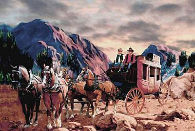 Team Or Horses Painting - Overland Trail by Ron Chambers