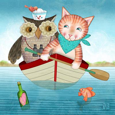 Owl And Cat Print by Valerie Drake Lesiak