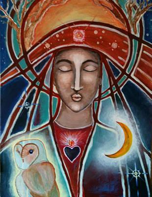 Owl And Goddess Print by Lakshmi Light