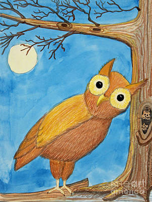 Owl And Moonlight Print by Norma Appleton