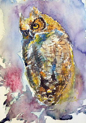 Colorful Owl Painting - Owl At Night II by Kovacs Anna Brigitta
