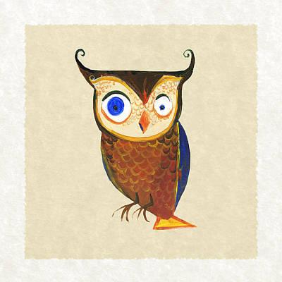 Owl Print by Kristina Vardazaryan