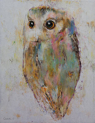 Chatting Painting - Owl Painting by Michael Creese