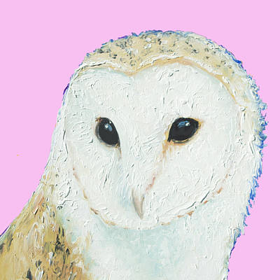 Bird Painting - Owl Painting On Pink Background by Jan Matson