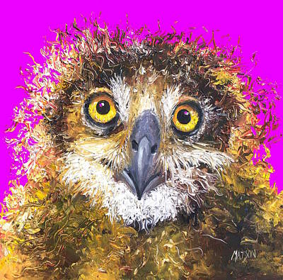 Owl Painting On Purple Background Print by Jan Matson