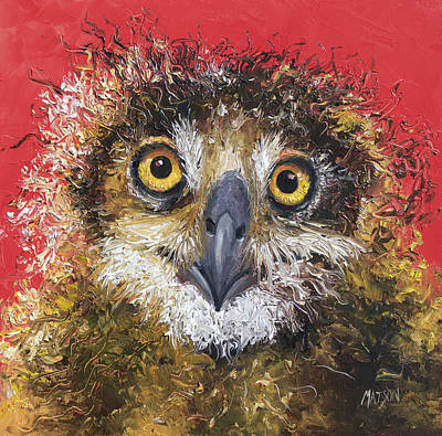 Owl Painting On Red Background Print by Jan Matson
