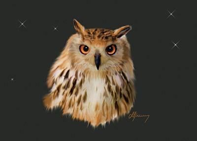 Net Painting - Owl Portrait  by Michael Greenaway