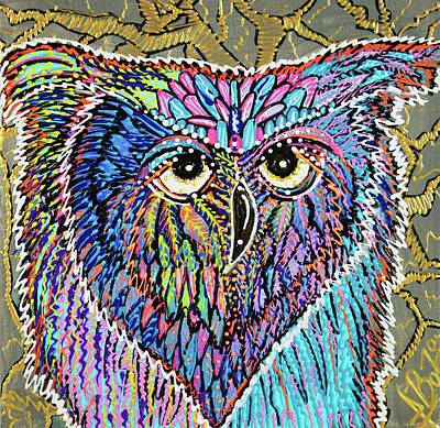 Lowbrow Painting - Owl Power by Laura Barbosa