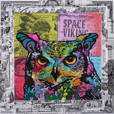 Owl Space Viking Original by Dean Russo