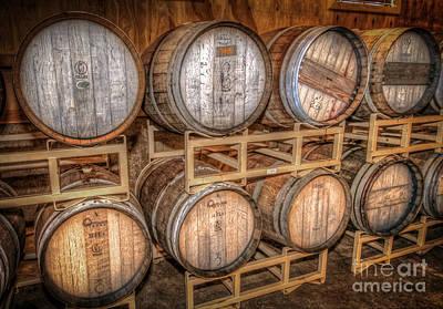 Wine Barrel Mixed Media - Owl's Eye Winery by Marion Johnson