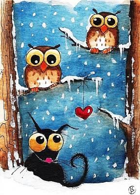 Winter Scene Painting - Owls In Love by Lucia Stewart