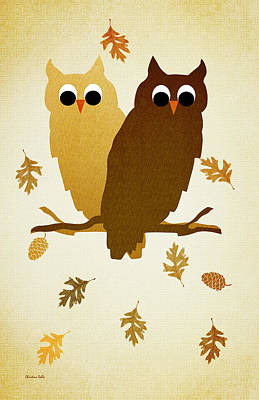 Couple Mixed Media - Owls Pattern Aged by Christina Rollo