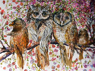 Bird Painting - Owly Owls by Ashleigh Dyan Bayer