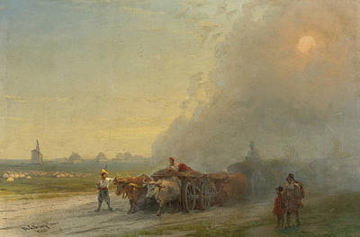 Ox-carts In The Ukrainian Steppe Print by Ivan Aivazovsky