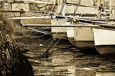 Oyster Boats Laid Up At Mylor Print by Brian Roscorla