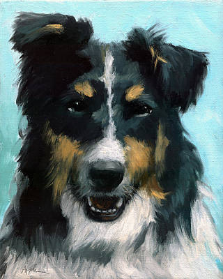 Painting - Ozzie Animal Dog Portrait by Linda Apple
