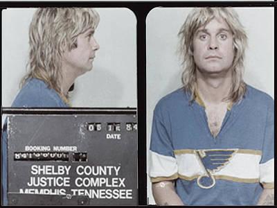 Jail Painting - Ozzy Osbourne Mug Shot Muted Horizontal by Tony Rubino
