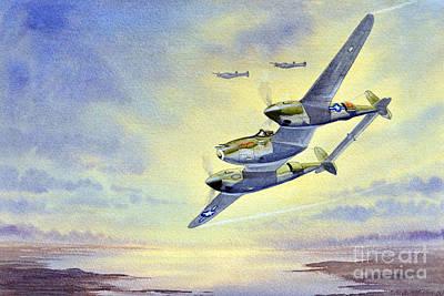 Robertson Painting - P-38 Lightning Aircraft by Bill Holkham