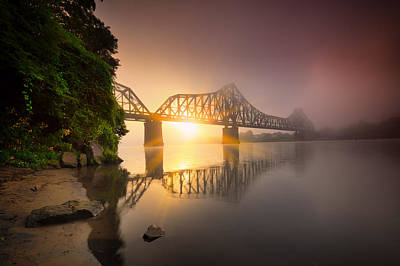 Railroad Bridge Photograph - P And Le Ohio River Railroad Bridge by Emmanuel Panagiotakis