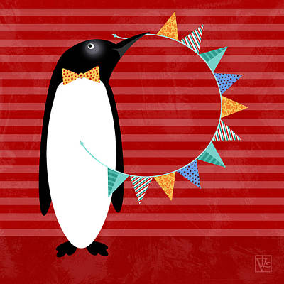 Penguin Mixed Media - P Is For Penguin by Valerie Drake Lesiak