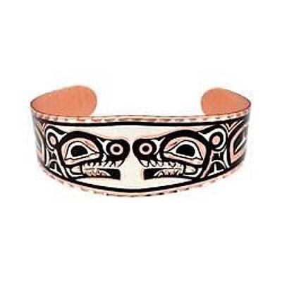 Pacific Coast Bears Copper Bracelet Original by Raven SiJohn