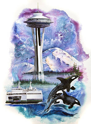 Orca Mixed Media - Pacific Northwest Montage  by Sherry Shipley