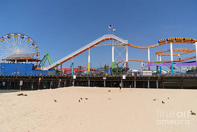 Rollercoaster Photograph - Pacific Park At Santa Monica Pier In Santa Monica California Dsc3696 by Wingsdomain Art and Photography